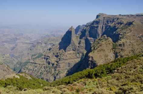 Marche dans le Simien, vers la cascade de Jinbar - Ethiopie -