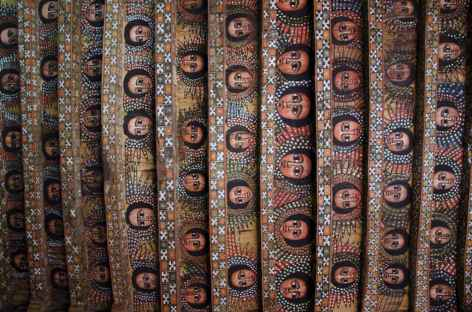 Plafond de l'église Debre Berhan Sélassié à Gondar - Ethiopie -
