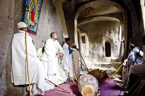 Intérieur d'une église monolithique de Lalibela - Ethiopie -