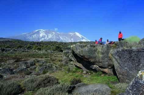 Notre campement depuis le plateau de Shira, Kilimanjaro - Tanzanie -