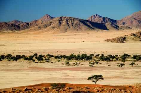 Massif du Naukluft depuis les dunes du Namib - Namibie -