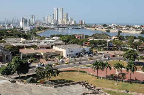 Carthagène, vue sur la ville moderne depuis le château San Felipe - Colombie -