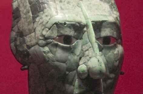 Le masque de jade retrouvé sur le site Maya de Palenque - Mexique -