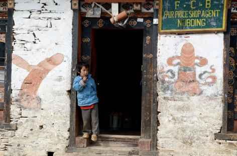 Décoration traditionnelle sur une maison de Nobding - Bhoutan -