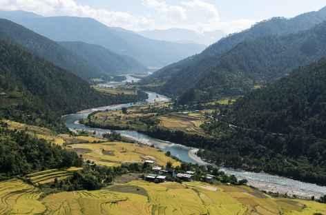 Vallée de Punakha depuis le chorten de Nyezergang - Bhoutan -