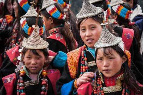 Jeunes filles de Laya pendant le festival - Bhoutan -