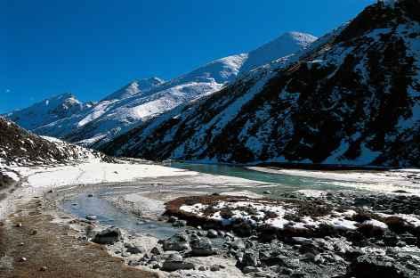 Vallée au-dessus de Nulithang conduisant au le Tibet -