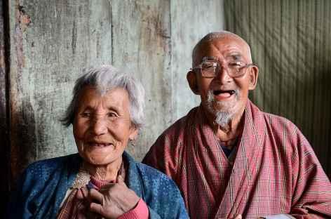 Portraits  Vieux couple bhoutanais -