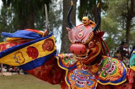 Danse masquée au festival de Talo - Bhoutan -