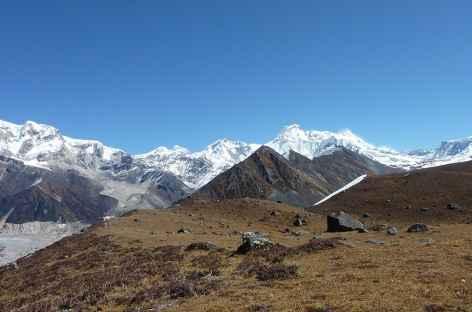 Le Kangkar Puensum (7541 m) depuis les hauteurs de Thangza - Bhoutan -