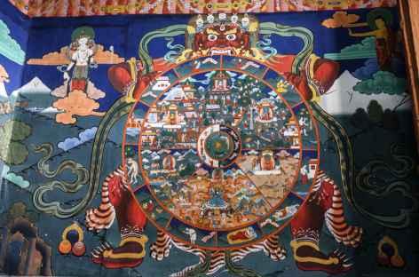 La roue de la vie Dzong de Paro -