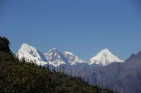 Le Jomolhari à gauche (7316 m) et leJichu Drake à droite (6990 ) depuis le Chele la) -