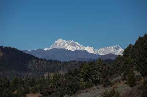 le Kangkarpunsum (7564 m) depuis le Sheytang La (3640 m) -