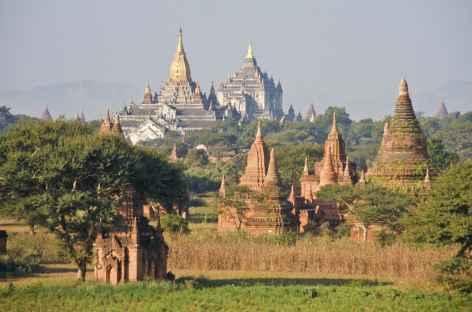 Panorama sur de belles pagodes - Pagan - Birmanie -