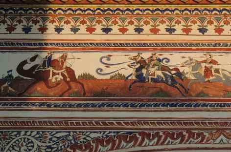 Détail d'une fresque d'une haveli, Rajasthan, Inde -