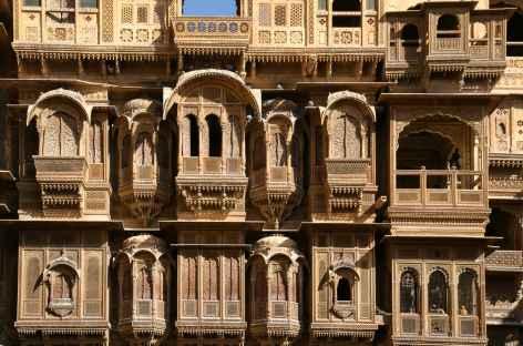 Détails d'architecture dans la vieille ville, Jaisalmer, Rajasthan -