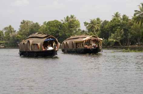 au fil de l'eau sur notre house boat, Kerala, Inde du sud -