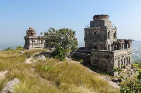 Le sommet du fort de Ginjee, Inde du Sud -