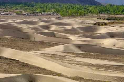 Le village oasis de Hunder vu depuis les dunes - Vallée de la Nubra  -