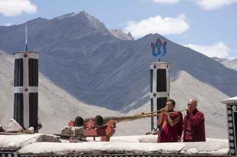 Trompes sur les toits du monastère - Ladakh, Inde -