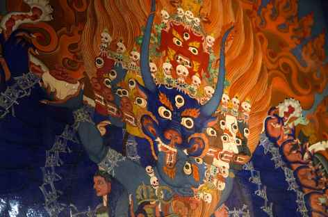 Peintures traditionnelles au monastère de Likir, Ladakh Inde -