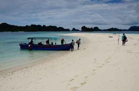 Débarquement sur une plage de rêve sur l'île de Banos, Misool - Indonésie -