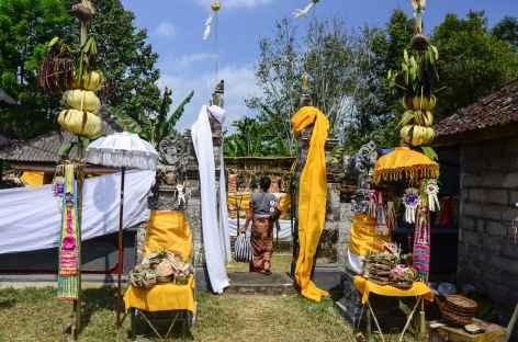 Cérémonie religieuse en chemin, Bali - Indonésie -