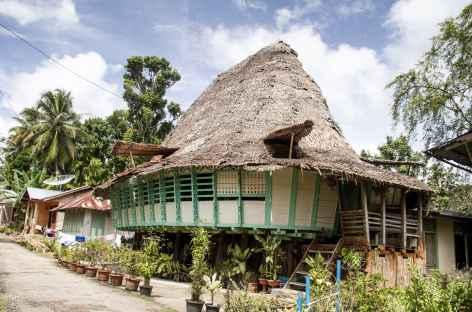 Maison ovale dans le village de Tumori, île de Nias, Sumatra - Indonésie -