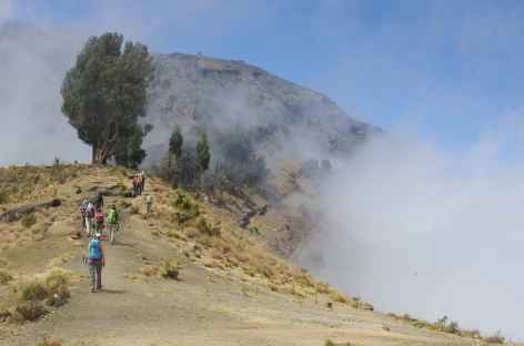 Marche vers le camp Pelawangan II (2700 m), volcan Rinjani, Lombok - Indonésie -