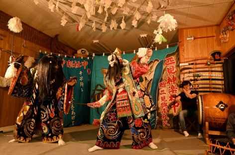 Théâtre traditionnel Iwamikagura à Minoji Yashiki - Japon -