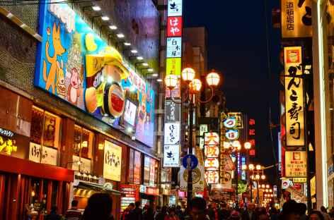Quartier animé de Dotonbori à Osaka - Japon -