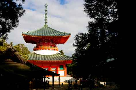 Grande pagode laquée vermillon de Danjo Garan, Koya San - Japon -