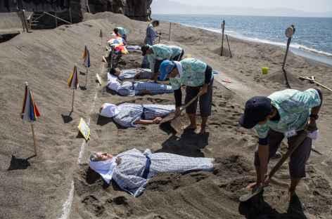 Les bains de sable chaud, péninsule de Satsuma - Japon -