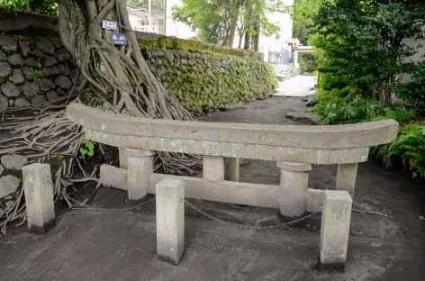 Un torii enseveli par de la cendre volcanique, pentes du Sakurajima - Japon -