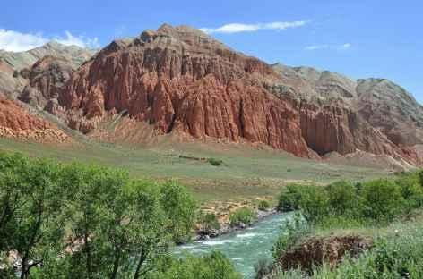 Canyon rouge dans les gorges de la Kekemeren - Kirghizie  -