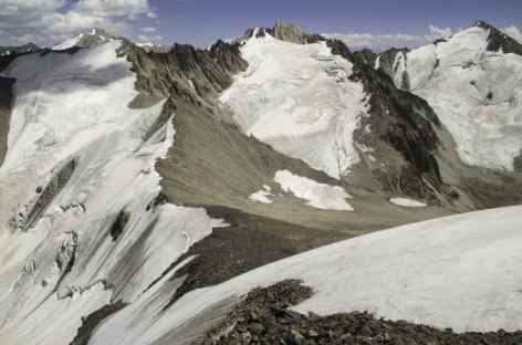 Vue depuis le sommet du cirque de Kochkol 4810 m - Kirghizie -