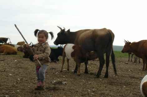 Elevage et petite fermière, Mongolie -