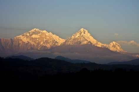 Soleil couchant sur L'Annapurna I et Sud - Népal -