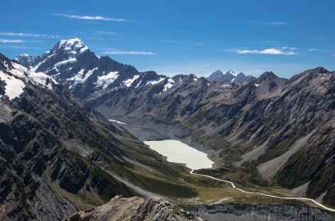 Le Mt Cook (3754 m) et le Hooker Glacier lake - Nouvelle Zélande -