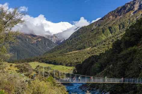 Pont suspendu menant à Rob Roy Glacier, massif de l'Aspiring - Nouvelle Zélande -