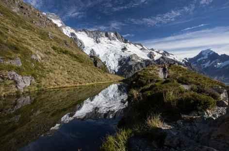 Sealy Tarns, étape lors de la montée à Mueller Hut - Nouvelle Zélande -