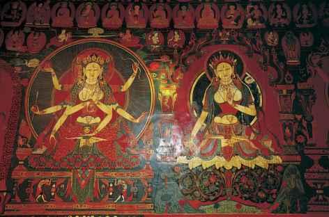 Fresques au monastère, Tibet -