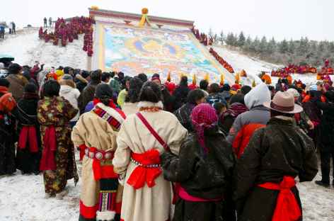Pèlerins devant le thangka - Amdo -