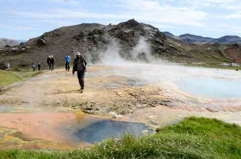 Trek dans la région du volcan Hengill, Islande -