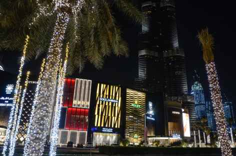 Dubai by night, quartier de Dubai Mall -