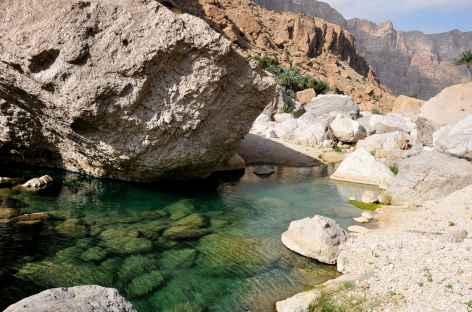 Vasque aux eaux limpides du wadi Shab - Oman -
