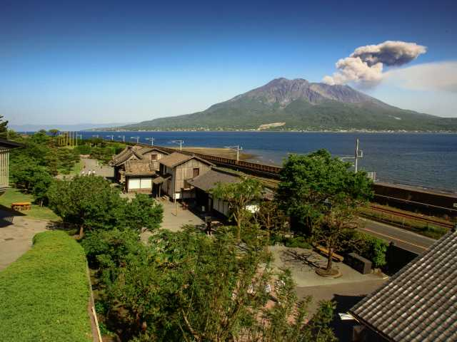 Volcan Sakurajima depuis le jardin de Sengan-en - Japon, © Luciano Lepre