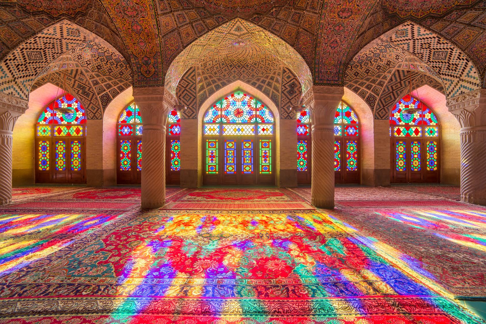 Intérieur de la mosquée Rose à Shiraz