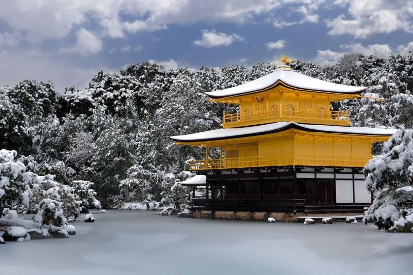Pavillon d'or Kyoto Japon Neige