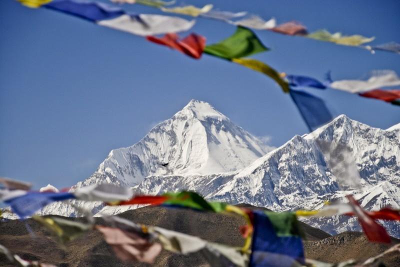 Vue sur les Dhaulagiri sur le tour des Annapurnas